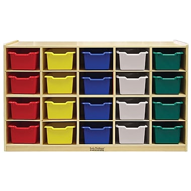 ECR4Kids® 20 Tray Birch Storage Cabinet With 20 Assorted Bins, Natural