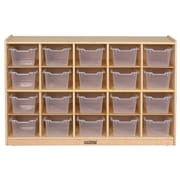 ECR4Kids® 20 Tray Birch Storage Cabinet With 20 Clear Bins, Natural