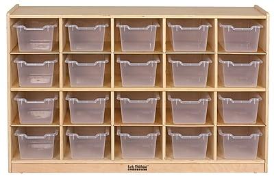 ECR4Kids® 20 Tray Birch Storage Cabinet With 20 Clear Bins, Natural