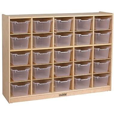 ECR4Kids® 25 Tray Birch Storage Cabinet With 25 Clear Bins, Natural