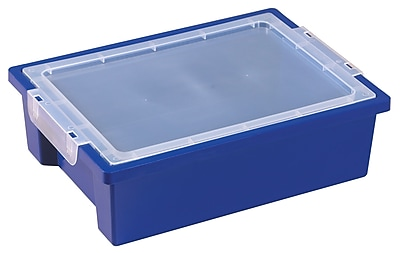 ECR4Kids Small Storage Bins with Lid - Blue 6-Pack