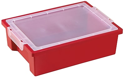 ECR4Kids Small Storage Bins with Lid - Red 6-Pack