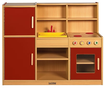 ECR4Kids® Colorful Essentials 4-in-1 Play Kitchen, Red
