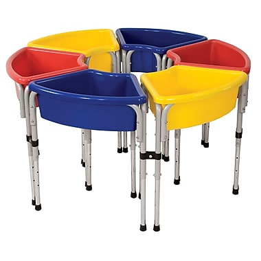 ECR4Kids® 6 Station Sand and Water Play Table With Lids, Blue/Red/Yellow
