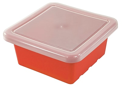 ECR4Kids Square Tray with Lid - Red 4-Pack