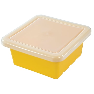 Square Tray with Lid - Yellow
