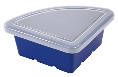 ECR4Kids Quarter Circle Tray with Lid - Blue 4-Pack
