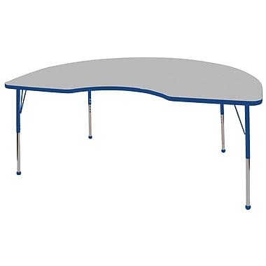 ECR4Kids T-Mold 48in. x 72in. Kidney Activity Table With Standard Legs & Ball Glide, Gray/Blue/Blue