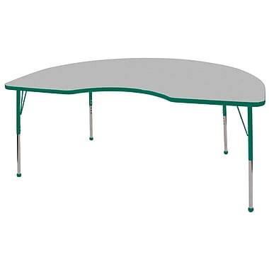 ECR4Kids T-Mold 48in. x 72in. Kidney Activity Table With Toddler Legs & Ball Glide, Gray/Green/Green