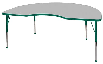 ECR4Kids T-Mold 48in. x 72in. Kidney Activity Table With Standard Legs & Ball Glide, Gray/Green/Green