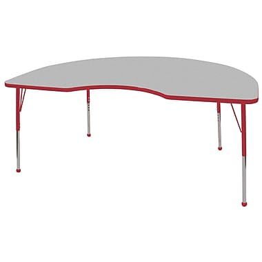 ECR4Kids T-Mold 48in. x 72in. Kidney Activity Table With Standard Legs & Ball Glide, Gray/Red/Red