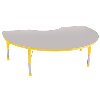 ECR4Kids T-Mold 48in. x 72in. Kidney Activity Table With Chunky legs & Standard Glide, Gray/Yellow/Yellow