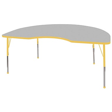 ECR4Kids T-Mold 48in. x 72in. Kidney Activity Table With Standard Legs & Ball Glide, Gray/Yellow/Yellow