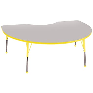 ECR4Kids T-Mold 48in. x 72in. Kidney Activity Table With Toddler Legs & Ball Glide, Gray/Yellow/Yellow