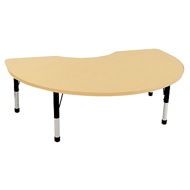 ECR4Kids T-Mold 48in. x 72in. Kidney Activity Table With Chunky legs & Standard Glide, Maple/Maple/Black