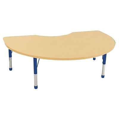 ECR4Kids T-Mold 48in. x 72in. Kidney Activity Table With Chunky legs & Standard Glide, Maple/Maple/Blue