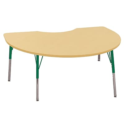 ECR4Kids T-Mold 48in. x 72in. Kidney Activity Table With Toddler Legs & Swivel Glide, Maple/Maple/Green