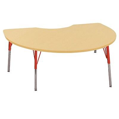 ECR4Kids T-Mold 48in. x 72in. Kidney Activity Table With Standard Legs & Swivel Glide, Maple/Maple/Red