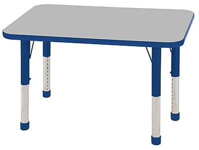 ECR4Kids T-Mold 24in. x 36in. Rectangular Activity Table With Chunky legs & Standard Glide, Gray/Blue/Blue