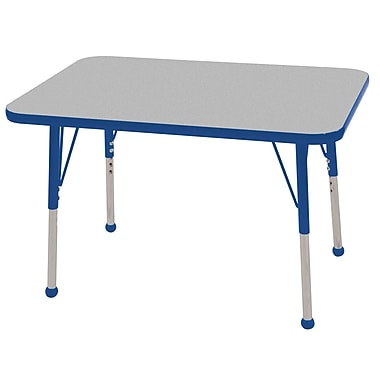 ECR4Kids T-Mold 24in. x 36in. Rectangular Activity Table With Toddler Legs & Ball Glide, Gray/Blue/Blue
