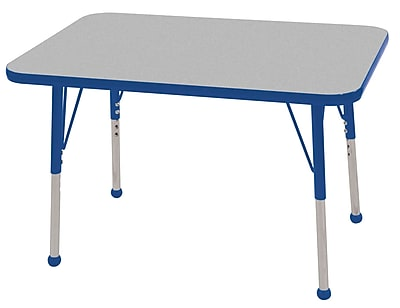 ECR4Kids T-Mold 36in. Rectangular Activity Table with Standard Legs and Ball Glide, Gray/Blue/Blue