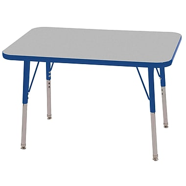 ECR4Kids T-Mold 24in. x 36in. Rectangular Activity Table With Toddler Legs & Swivel Glide, Gray/Blue/Blue