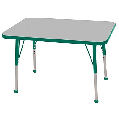 ECR4Kids T-Mold 24in. x 36in. Rectangular Activity Table With Toddler Legs & Ball Glide, Gray/Green/Green