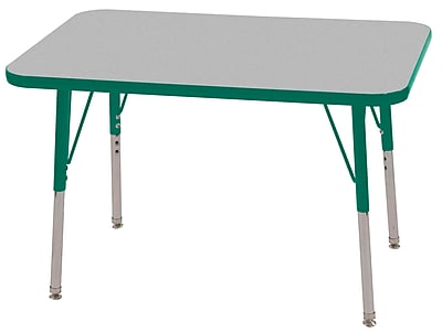 ECR4Kids T-Mold 24in. x 36in. Rectangular Activity Table With Toddler Legs & Swivel Glide, Gray/Green/Green