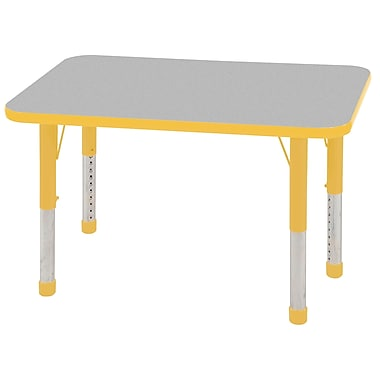 ECR4Kids T-Mold 24in. x 36in. Rectangular Activity Table With Chunky legs & Standard Glide, Gray/Yellow/Yellow