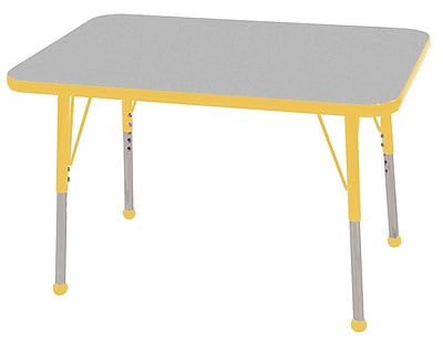 ECR4Kids T-Mold 24in. x 36in. Rectangular Activity Table With Toddler Legs & Ball Glide, Gray/Yellow/Yellow