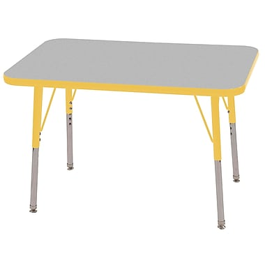 "24""x60"" Rectangular T-Mold Activity Table, Grey/Yellow/Toddler Swivel"