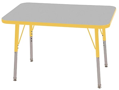 ECR4Kids T-Mold 24in. x 36in. Rectangular Activity Table With Standard Legs & Swivel Glide, Gray/Yellow/Yellow