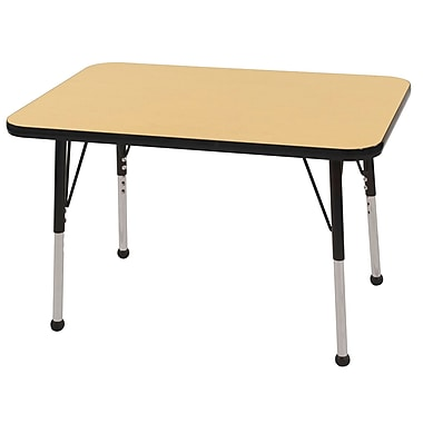 ECR4Kids T-Mold 24in. x 36in. Rectangular Activity Table With Toddler Legs & Ball Glide, Maple/Black/Black