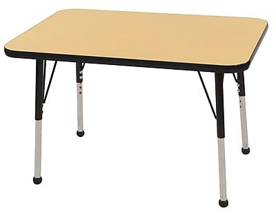 ECR4Kids T-Mold 24in. x 36in. Rectangular Activity Table With Standard Legs & Ball Glide, Maple/Black/Black
