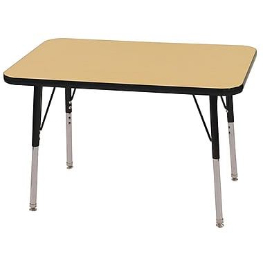ECR4Kids T-Mold 24in. x 36in. Rectangular Activity Table With Standard Legs & Swivel Glide, Maple/Black/Black