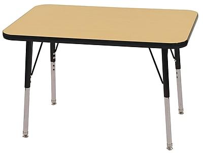 ECR4Kids T-Mold 24in. x 36in. Rectangular Activity Table With Toddler Legs & Swivel Glide, Maple/Black/Black