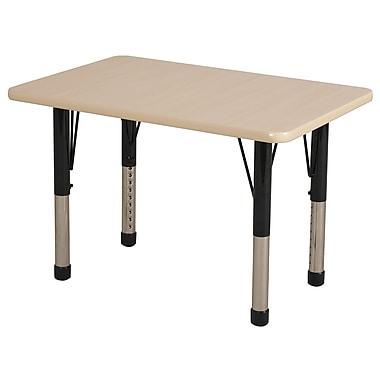 "24""x48"" Rectangular T-Mold Activity Table, Maple/Maple/Black/Chunky"