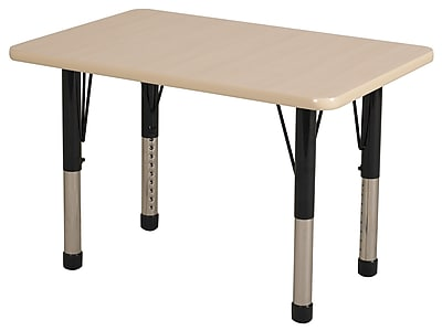 ECR4Kids T-Mold 24in. x 36in. Rectangular Activity Table With Chunky legs & Standard Glide, Maple/Maple/Black