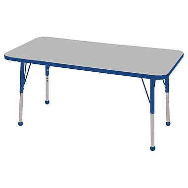 ECR4KidsMD – Table d'activités rectangulaire de 24 x 48 po avec pattes standard et glisseurs en boule, gris/bleu/bleu