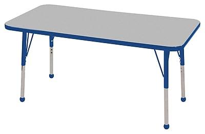 "24""x48"" Rectangular T-Mold Activity Table, Grey/Blue/Toddler Ball"