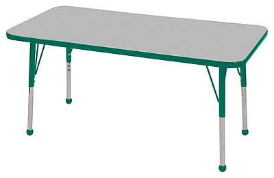 "24""x48"" Rectangular T-Mold Activity Table, Grey/Green/Standard Ball"