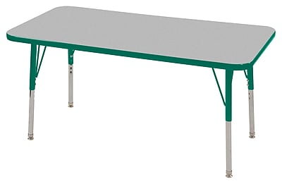 "24""x48"" Rectangular T-Mold Activity Table, Grey/Green/Toddler Swivel"