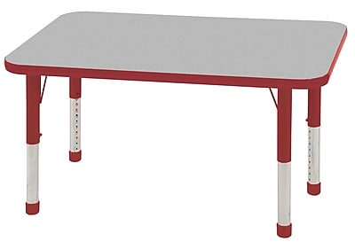 """24""""x48"""" Rectangular T-Mold Activity Table, Grey/Red/Chunky"""