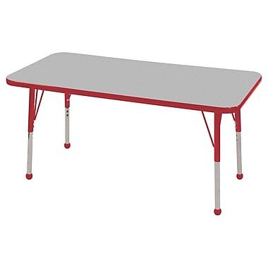 ECR4KidsMD – Table d'activités rectangulaire de 24 x 48 po avec pattes standard et glisseurs en boule, gris/rouge/rouge