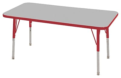 "24""x48"" Rectangular T-Mold Activity Table, Grey/Red/Standard Swivel"