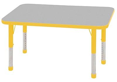 "24""x48"" Rectangular T-Mold Activity Table, Grey/Yellow/Chunky"