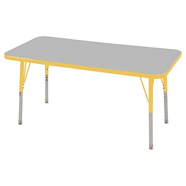 "24""x48"" Rectangular T-Mold Activity Table, Grey/Yellow/Standard Swivel"
