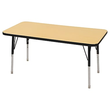 "24""x48"" Rectangular T-Mold Activity Table, Maple/Black/Toddler Swivel"