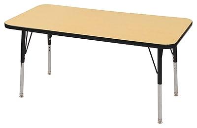 "24""x48"" Rectangular T-Mold Activity Table, Maple/Black/Standard Swivel"