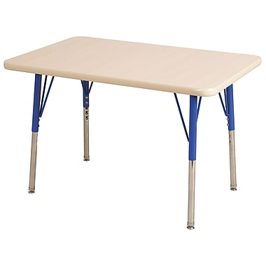 "24""x60"" Rectangular T-Mold Activity Table, Maple/Maple/Blue/Standard Swivel"